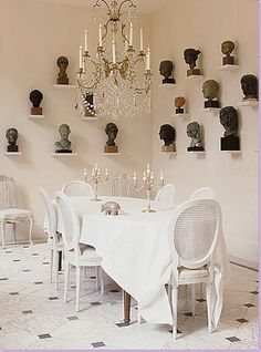 dining room with heads