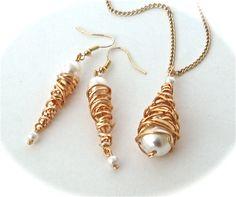 'Cyclone' Earrings & Pendant created using 'Conetastic' tool (like tangle beads)