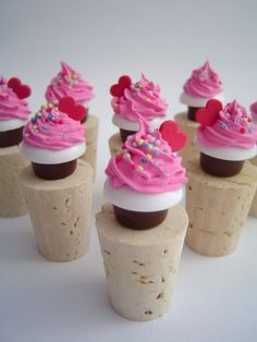 Items similar to WINE BOTTLE STOPPER fake cupcake for sweet occasion birthday party bridal shower favor wedding, pink icing whimsical gifts for hostess on Etsy Wine Cupcakes, Baking Cupcakes, Cupcake Wine, Diy Cork, Cork Crafts, Cupcake Crafts, Wine Bottle Stoppers, Bottle Caps, Wine Decor