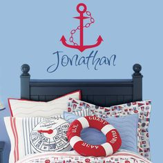 Items similar to Nautical Wall Decal Personalized With Name Sailboat Anchor & Chain For Baby Boy Nursery Or Boys Room Vinyl Wall Art x on Etsy Nautical Names, Nautical Theme Nursery, Nautical Bedroom, Nautical Baby, Boy Toddler Bedroom, Baby Boy Rooms, Baby Boy Nurseries, Kids Bedroom, Nursery Wall Decals