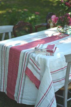 Mantel lino rayas coral www.1bonmoment.com