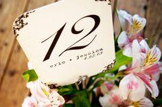 Rounded Corner Vintage Table Numbers. $2.00, via Etsy.