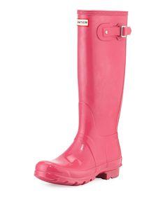 Original Tall Gloss Rain Boot, Bright Cerise, Women's, Size: 40.0B/10.0B - Hunter Boot