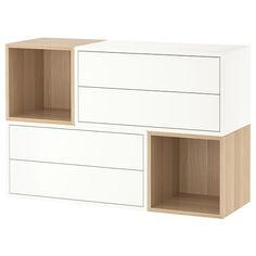 EKET Wall-mounted cabinet combination - white, white stained oak effect - IKEA - Detská izba - lack Ikea Eket, Flexible Furniture, Plastic Foil, Painted Drawers, White Stain, Cube Storage, Storage Organizers, Drawer Fronts, New Furniture
