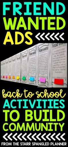 Favorite Back To School Activity: Friend Wanted Ads My favorite Back To School Activity! It's the perfect whole class activity to help build community in your classroom at the beginning of the school year. Students share what they are looking for in a new First Day Of School Activities, 1st Day Of School, Beginning Of The School Year, Class Activities, High School, Summer Activities, Back To School Art, School Starts, School Resources