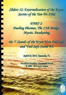 "Sliders 12 Part2 Handbook: Externalization of the Kryst; Secrets of the Tan-Tri-A'jha' PART-2: Dueling Plasmas, The 15th Bridge, Myotic Awakening, the ""7-Stands of the Kryst-Host Fail-Safe and ""Fail-Safe Stand #2"