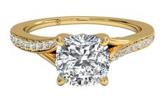 Modern Bypass Micropavé Diamond Band Engagement Ring - in Yellow Gold (0.19 CTW)