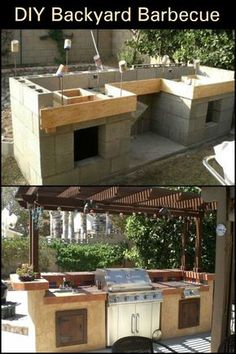 How To Build an Outdoor Kitchen – Thinking of ways to enhance your backyard? Th… How To Build an Outdoor Kitchen – Thinking of ways to enhance your backyard? Then build an outdoor kitchen! Outdoor Kitchen Plans, Outdoor Kitchen Cabinets, Backyard Kitchen, Outdoor Kitchen Design, Summer Kitchen, Back Patio Kitchen Ideas, Building An Outdoor Kitchen, Out Door Kitchen Ideas, Simple Outdoor Kitchen