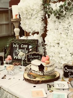 Rustic themed garden party Baby Shower Themes, Rustic, Table Decorations, Country, Cake, Garden, Party, Home Decor, Country Primitive