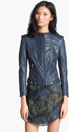 d8a5650883 Theyskens' Theory Blue Janner Nomi Leather Jacket Theory, Teal, Leather  Jacket, Studded