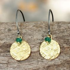 Hammered brass and sterling silver dangle earrings with green onyx bead