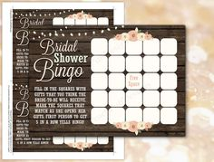 Rustic Bridal Shower games INSTANT DOWNLOAD by PeachPuffDesigns