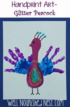 Handprint Art - Glitter Peacock made from little hands! | Well Nourished Nest