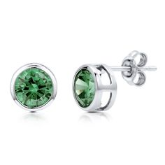 Sterling Silver Simulated Emerald CZ Solitaire Stud Earrings