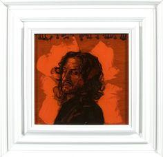 The Orange Horse Rider  - Encre et Acrylique sous Perspex - 53 x 53 cm (hors cadre)