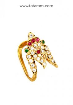 Gold Vanki Ring With Cz & Color Stones: Totaram Jewelers: Buy Indian Gold jewelry & Diamond jewelry