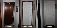 before and after painting trim white painting door trim painting door trim home remodeling painting trim painting door trim white painting door painting trim white tips Home Improvement Loans, Home Improvement Projects, Home Projects, Bathroom Renovations, Home Renovation, Home Remodeling, Dark Trim, Painting Trim, Painting Baseboards