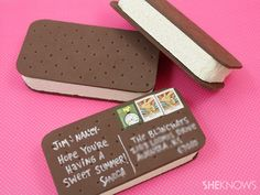 Make an ice cream sandwich postcard