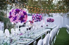 Mirror tables and Buenos Aires chrome dining chairs with Tivoli lights adds a romantic element to the perfect outdoor venue, especially at sunset