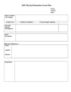 lesson plan template | Pe Lesson Plan Template