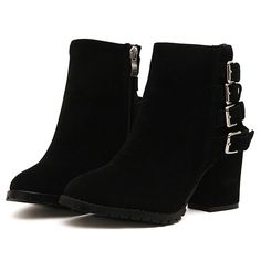 Korean Style Button Embellished Middle Heels Shoes Boot--Click the picture can place an order, we support wholesale.