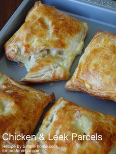 Chicken & Leek Parcels FULL RECIPE HERE Chicken Pie Recipe chicken pie recipe chicken pie recipe easy chicken pot pie recipe healthy chick. Empanadas, Chicken And Leek Pie, Creamy Chicken Pie, Cream Chicken, Cheesy Chicken, Puff Pastry Recipes, Galette, Snacks, Casserole Recipes