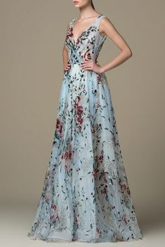 Saiid Kobeisy long blue cadet flower-printed tulle dress with an envelope top, a full-circle skirt, and embellished with scattered sequins beading . Floral Print Gowns, Saiid Kobeisy, Full Circle Skirts, A Line Gown, Dress Cuts, Tulle Dress, Tulle Tutu, Formal Gowns, Formal Wear