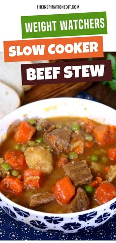 Weight Watchers Beef Stew In The Slow Cooker · The Inspiration Edit - - This Beef Stew recipe yields approximately four cup servings, has approximately 260 calories per serving or 4 Weight Watchers points. Weight Watchers Carrot Recipe, Weight Watchers Slow Cooker Recipe, Weight Watchers Soup, Weight Watchers Chicken, Weight Watchers Recipes, Healthy Slow Cooker, Slow Cooker Soup, Healthy Soup, Healthy Eating