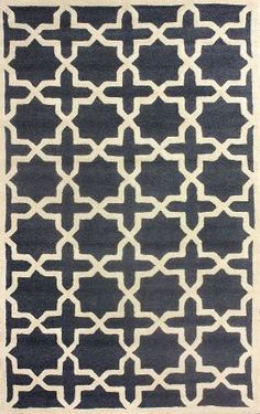 Tuscan Trellis VS91 Charcoal Rug   Contemporary Rugs: 100% Wool, Hand Hooked, 75% off