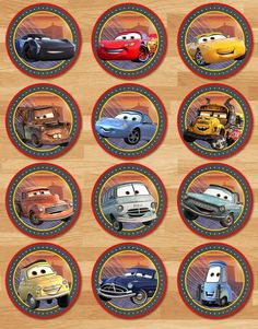 Printable Instant Download Cars 3 Cupcake Toppers - 2 inch Circles This adorable set of Cars 3 Cupcake Toppers is the perfect way to decorate for your little ones birthday party!  ===================== Whats Included? =====================  * 1 High Resolution PDF thats 8.5x11 inches with 12 toppers