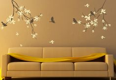 Cherry Blossom Tree wall Decal Natural Tree with Flowers Birds Wall Sticker Stick on Wall Art by DecalIsland -Tree branch with Flowers Birds...