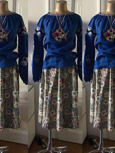 Embroidered Vyshyvanka Blouse meets Vintage Skirt SEELOVEBUY www.luxurydejavu.com