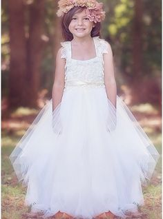 fc01547ce74 Ball Gown Floor-length Flower Girl Dress - Tulle Sleeveless Square Neckline  With Lace Sash