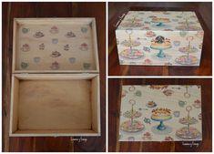 "Cajas de madera decoradas hechas a mano. Completamente personalizadas. Modelo ""Tartas""."