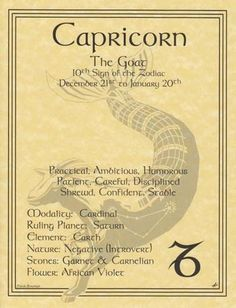 Capricorn Zodiac Parchment Book of Shadows Page or Poster | eBay