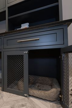 Decorate your room in a new style with murphy bed plans Dog Crate Furniture, Home, Crate Furniture, Laundry Room Design, Custom Cabinetry, Animal Room, Built In Dog Bed, Murphy Bed Plans, Room