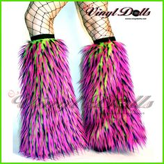 Rave Fluffies Fur Leg Warmers UV Lime Hot Pink by OsisVinylDolls, $32.95
