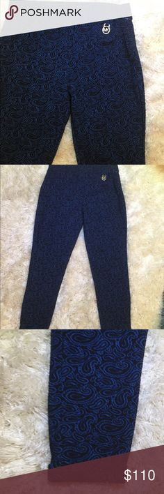 Michael Michael Kors Jeggings Michael Michael Kors Blue Paisley Jegging.  Color: blue and black.  Paisley print with cuff at the ankle.  Material: Stretch and cotton.  Size: medium Michael Kors Pants Leggings