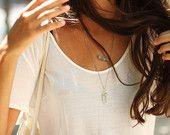 SALE 25% OFF:Gold Layer Necklace, Aquamarine & Quartz Point Gemstone Set