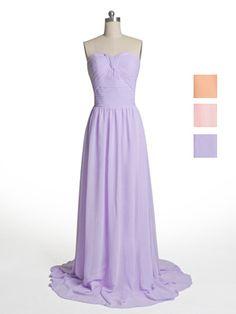 Classic Long Chiffon Elegant Ruched Pastel Lilac Bridesmaid Dress