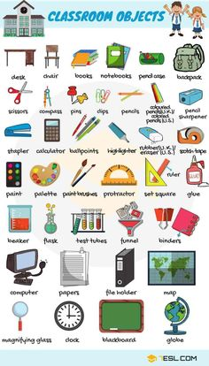 Learn English names of classroom objects, items that you can find in a classroom. This lesson is useful for ESL learners and English students to improve their classroom and school vocabulary in English. English Vocabulary Words, Grammar And Vocabulary, English Words, English Grammar, Grammar Rules, Vocabulary Games, Kids English, English Study, Learn English