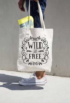 Wild and Free Tote Bag Canvas Market Totes Library Book Bag Inspirational Quote Motivational Art Thoreau Wanderlust Print Black Typography by PrettyPennyPrints on Etsy https://www.etsy.com/listing/257290634/wild-and-free-tote-bag-canvas-market