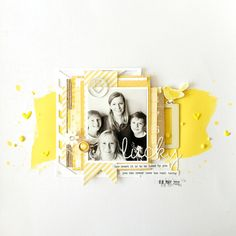 Layout by Jot Girl Sheree Forcier for the Jot Magazine July 2016 Mood Board. Scrapbook Designs, Scrapbook Page Layouts, My Scrapbook, Scrapbook Paper Crafts, Sketch Inspiration, Scrapbooks, Card Making, Lay Outs, Yellow