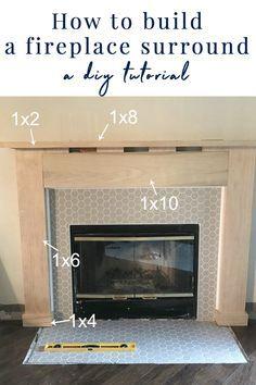 Wooden Fireplace Surround, Diy Fireplace Mantel, Fireplace Mantel Surrounds, Build A Fireplace, Fireplace Update, Brick Fireplace Makeover, Farmhouse Fireplace, Fireplace Remodel, Fireplace Design