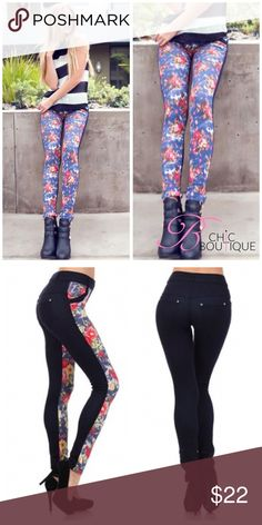 """Manhattan Floral Two Tone Floral Jeggings Turn up and tune-in to the Manhattan two-tone jeggings with floral print. The perfect go-to jeggings for any winter breakers thriving on the extra day light. The Manhattan has a 2"""" inch soft waistline along with tonal belt loops, and nice pocket flares. The Manhattan has a low-rise construction along with subtle rhinestone embellishments on the front and back pocketing. Blend in with the seasons and stand out to raising sun.  60% Cotton 30% Polyester…"""