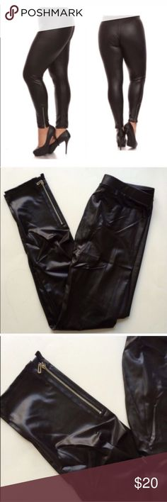"""Faux league leggings Faux leather/ shiny leggings. Size is marked as XL, but these will fit XL-2x (I am a 2x/16/18 and this fits perfectly). I do not recommend these for a size above 18. Inseam: 29"""" • Rise: 10"""" • Waistband: 28"""" unstretched. 36"""" comfortably stretched. 90% polyester/ 10% spandex. Very stretchy!!  Availability: 1 ⭐️This item is brand new in original packaging  💲Price is firm unless bundled ✅Bundle offers Pants Leggings"""