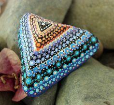 mandala stone, painted rock, pyramid stone, pyramid rock, triangle rock, unique rock, orange blue stone, handmade gift, special gift by KarinGetazArt on Etsy