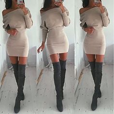 Schulterfreies langaermelig Mini Kleid Creme Gr. S 36-38