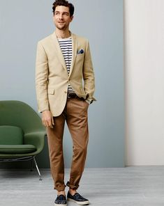 Shop this look for $212:  http://lookastic.com/men/looks/blazer-and-pocket-square-and-belt-and-crew-neck-sweater-and-chinos-and-espadrilles/2635  — Tan Blazer  — Navy Pocket Square  — Dark Brown Leather Belt  — White and Black Horizontal Striped Crew-neck Sweater  — Brown Chinos  — Navy Canvas Espadrilles