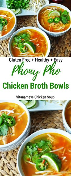 The Vietnamese Chicken Soup named Phony Pho Chicken Broth Bowls is made at home in less than 30 minutes. This popular soup cures what ails you and boosts your immune system and is easy, healthy, and delicious.
